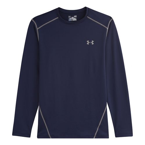 Mens Under Armour Evo Coldgear Crew Long Sleeve No Zip Technical Tops - Midnight Navy/Steel ...