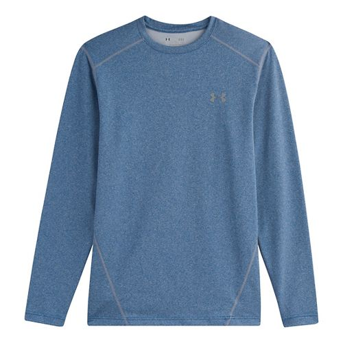 Mens Under Armour Evo Coldgear Crew Long Sleeve No Zip Technical Tops - Scatter L ...