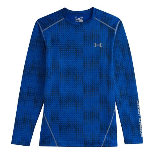 Mens Under Armour Evo Coldgear Crew Long Sleeve No Zip Technical Tops - Scatter/Steel M ...