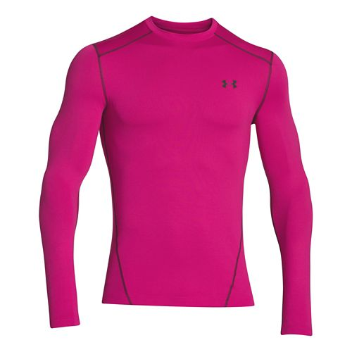 Mens Under Armour Evo Coldgear Crew Long Sleeve No Zip Technical Tops - Tropical Pink ...