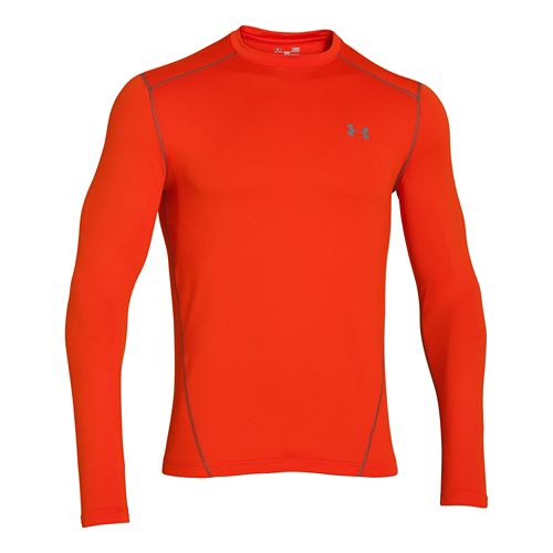 Mens Under Armour Evo Coldgear Crew Long Sleeve No Zip Technical Tops - Volcano/Graphite S ...