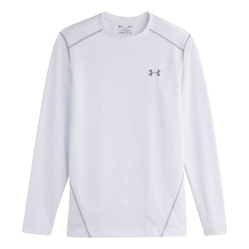Mens Under Armour Evo Coldgear Crew Long Sleeve No Zip Technical Tops - White/Steel XXXL ...