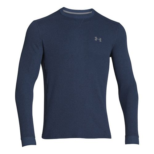 Mens Under Armour Amplify Thermal Long Sleeve No Zip Technical Tops - Academy/Steel L