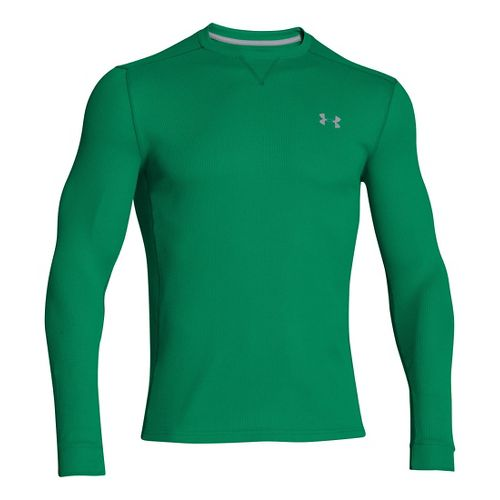 Mens Under Armour Amplify Thermal Long Sleeve No Zip Technical Tops - Astro Green/Steel L ...