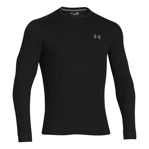 Mens Under Armour Amplify Thermal Long Sleeve No Zip Technical Tops - Black/Black L