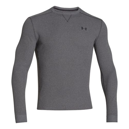 Mens Under Armour Amplify Thermal Long Sleeve No Zip Technical Tops - Carbon Heather/Black M ...
