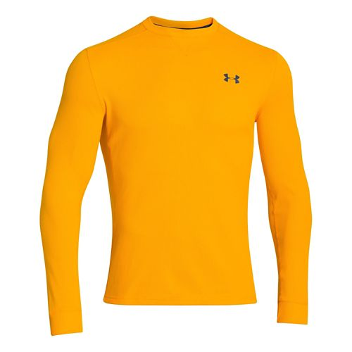 Mens Under Armour Amplify Thermal Long Sleeve No Zip Technical Tops - Gold/Academy XXL
