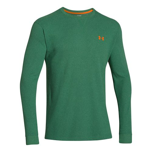 Mens Under Armour Amplify Thermal Long Sleeve No Zip Technical Tops - Green/Blaze Orange S ...