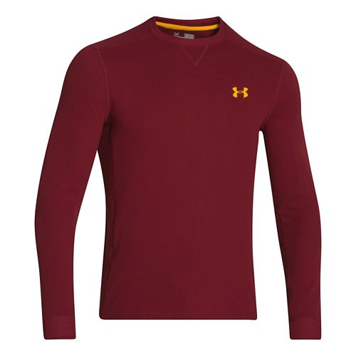 Mens Under Armour Amplify Thermal Long Sleeve No Zip Technical Tops - Henna/Gold XL