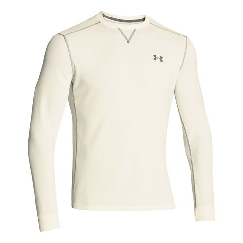 Mens Under Armour Amplify Thermal Long Sleeve No Zip Technical Tops - Ivory/Graphite XL