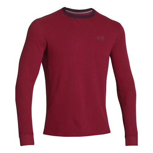 Mens Under Armour Amplify Thermal Long Sleeve No Zip Technical Tops - Pump/Ox Blood L ...