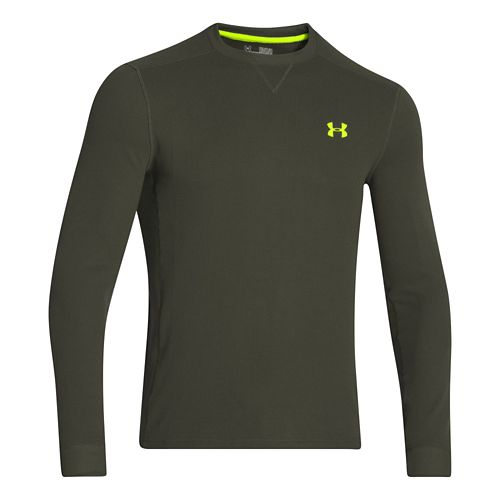 Mens Under Armour Amplify Thermal Long Sleeve No Zip Technical Tops - Rifle Green/Hi-Viz Yellow ...