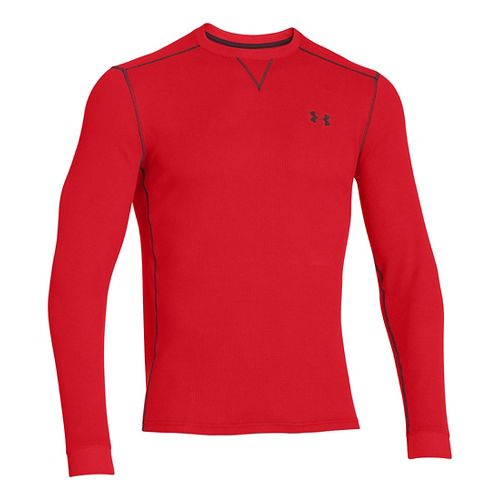 Mens Under Armour Amplify Thermal Long Sleeve No Zip Technical Tops - Risk Red/Ox Blood ...