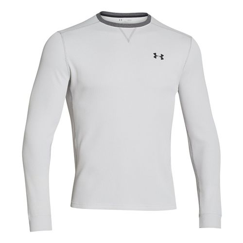 Mens Under Armour Amplify Thermal Long Sleeve No Zip Technical Tops - Silver Heather/Black L ...