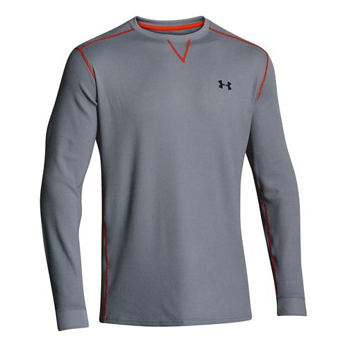 Mens Under Armour Amplify Thermal Long Sleeve No Zip Technical Tops - Steel/Volcano S