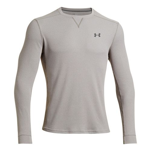 Mens Under Armour Amplify Thermal Long Sleeve Technical Tops - True Grey Heather/Graphite M