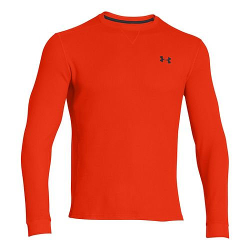Mens Under Armour Amplify Thermal Long Sleeve No Zip Technical Tops - Volcano/Anthracite S
