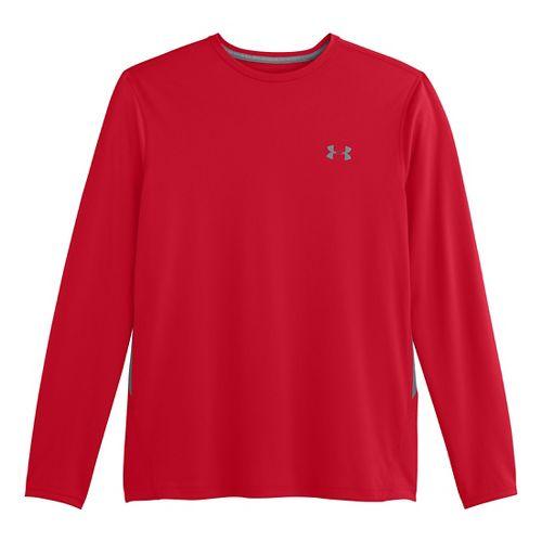 Mens Under Armour Longsleeve Tech T 2.0 Long Sleeve No Zip Technical Tops - Red/Steel ...