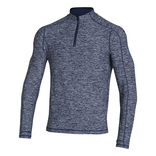 Mens Under Armour Elevated Ultimate Long Sleeve 1/2 Zip Technical Tops - Academy/Electric Blue ...