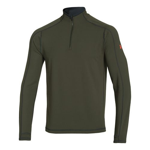 Mens Under Armour Elevated Ultimate Long Sleeve 1/2 Zip Technical Tops - Rifle Green/Steel M ...