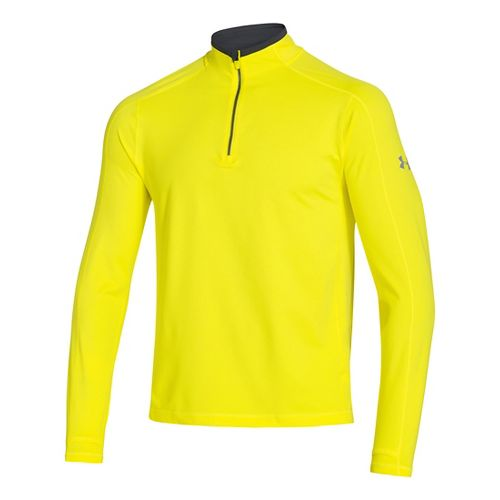 Mens Under Armour Elevated Ultimate Long Sleeve 1/2 Zip Technical Tops - Sunbleached/Anthracite M