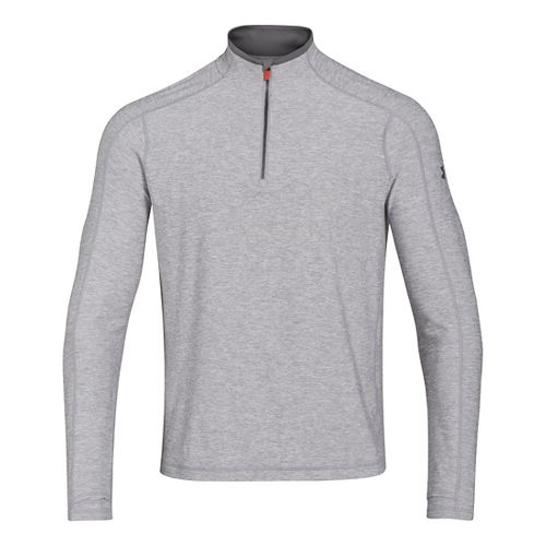 Mens Under Armour Elevated Ultimate Long Sleeve 1/2 Zip Technical Tops - Steel/Graphite L