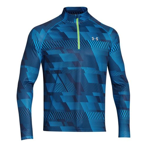 Mens Under Armour Promise Land Long Sleeve 1/2 Zip Technical Tops - Academy/Gecko Green L ...