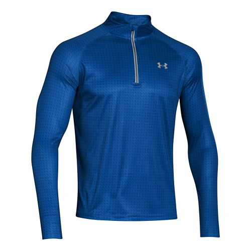 Mens Under Armour Promise Land Long Sleeve 1/2 Zip Technical Tops - Scatter/Reflective S