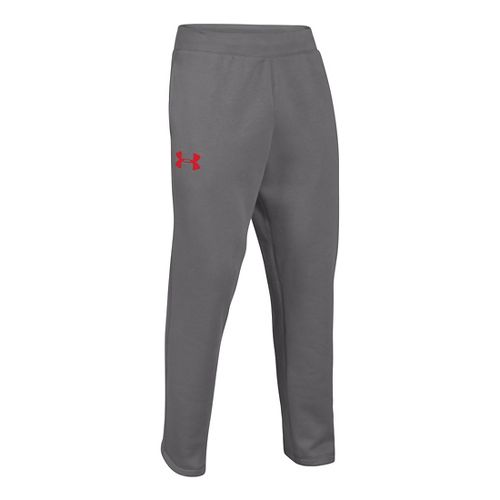 Mens Under Armour Rival Cotton Full Length Pants - Graphite/Risk Red M