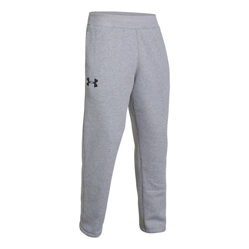 Mens Under Armour Rival Cotton Full Length Pants - True Grey Heather/Black M