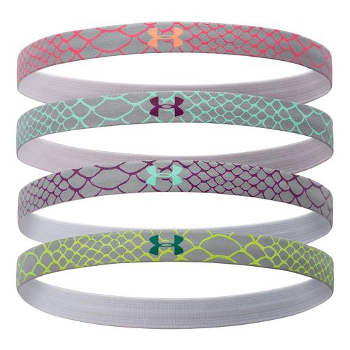 Womens Under Armour Reflective Mini Headbands 4-Pack Headwear - Aubergine/Pink Shock