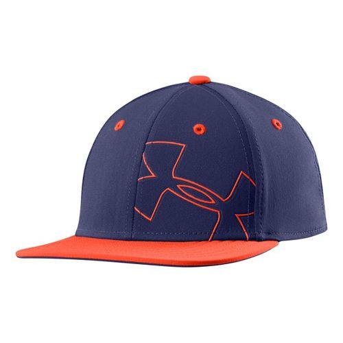 Kids Under Armour Boys Glow Stretch Fit Cap Headwear - Deep Space Blue XS/S