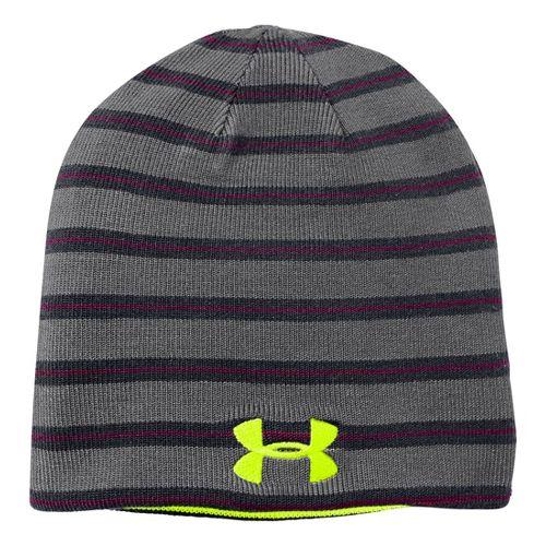 Kids Under Armour Boys Reversible Golf Stripe Beanie Headwear - Graphite