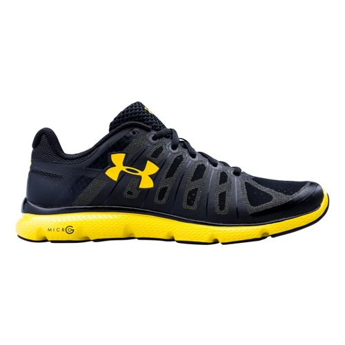 Mens Under Armour Micro G PULSE II Running Shoe - Black/Taxi 11.5