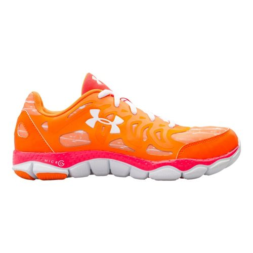 Womens Under Armour Micro G Engage Print Running Shoe - Blazing Orange 10.5