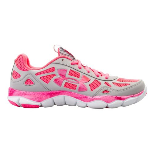 Womens Under Armour Micro G Engage BL Running Shoe - Aluminum/Pink 7.5