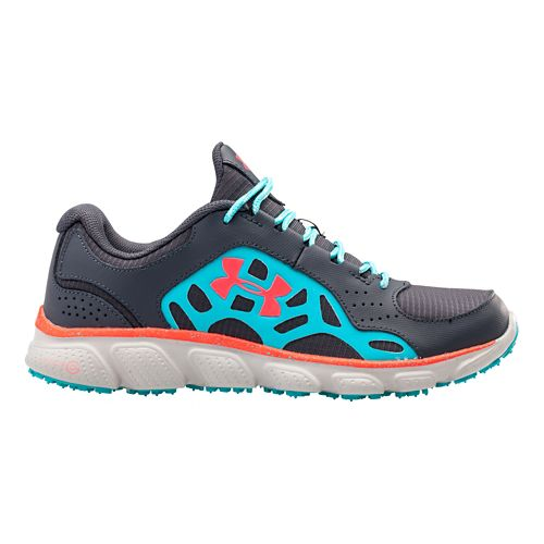 Womens Under Armour Micro G Assert IV Trail Running Shoe - Lead/Breathtaking Blue 10
