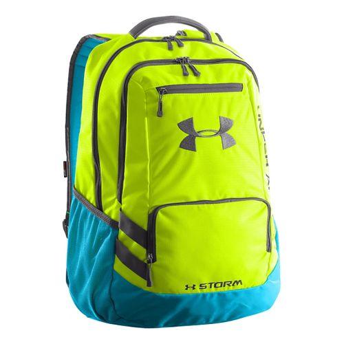 Under Armour Hustle Backpack Bags - Hi-Viz Yellow/Alpine