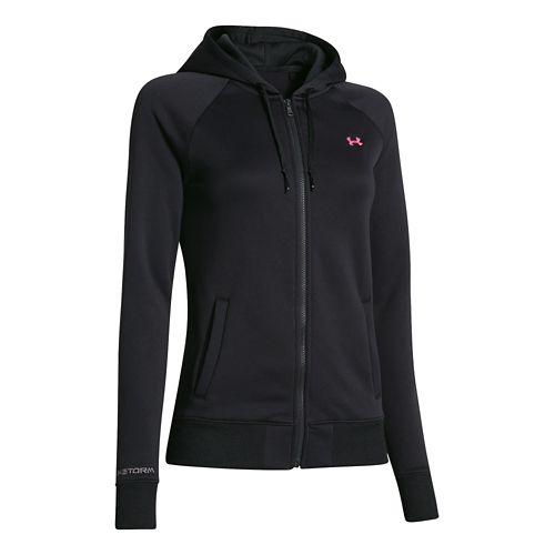 Womens Under Armour Fleece Full Zip Hoody Running Jackets - Black M