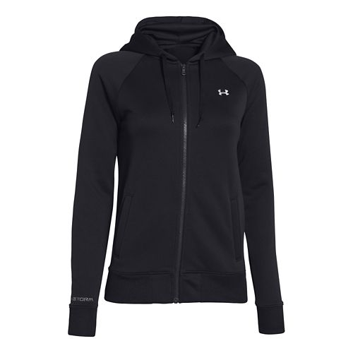Womens Under Armour Fleece Full Zip Hoody Running Jackets - Black/Ivory L