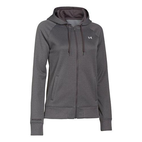 Womens Under Armour Fleece Full Zip Hoody Running Jackets - Carbon Heather XL