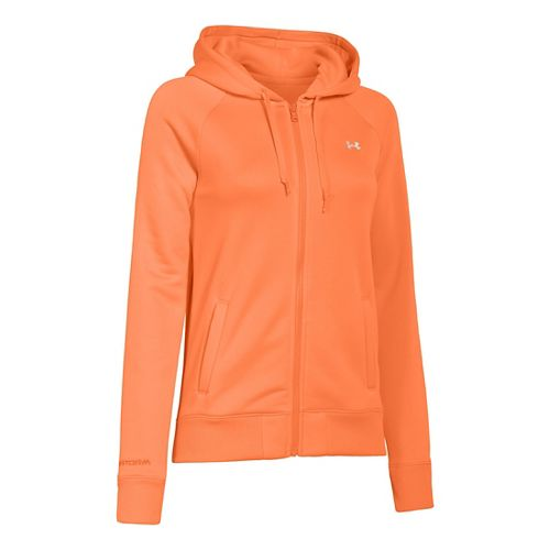 Womens Under Armour Fleece Full Zip Hoody Running Jackets - Citrus Blast M
