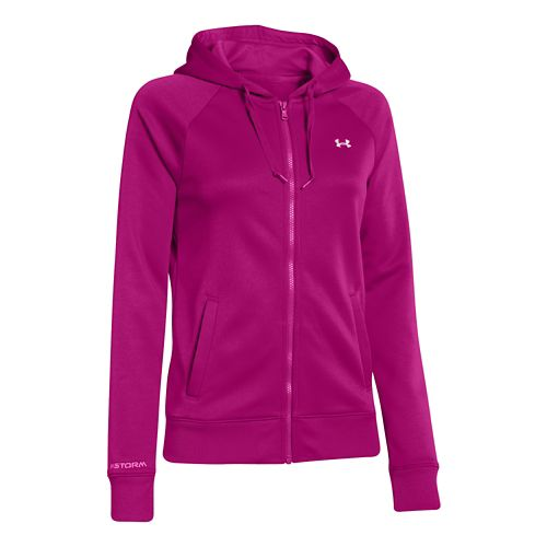 Womens Under Armour Fleece Full Zip Hoody Running Jackets - Magenta Shock M