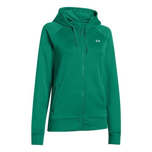 Womens Under Armour Fleece Full Zip Hoody Running Jackets - Persian XS
