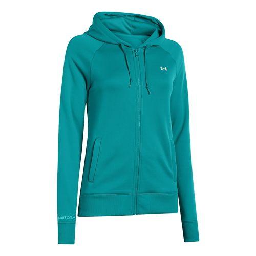 Womens Under Armour Fleece Full Zip Hoody Running Jackets - Warm Gray Heather S