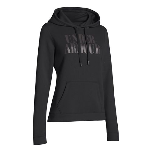 Womens Under Armour Undisputed Cotton Hoody Long Sleeve No Zip Technical Tops - Black S ...