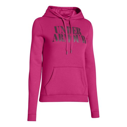 Womens Under Armour Undisputed Cotton Hoody Long Sleeve No Zip Technical Tops - Fuchsia Rose ...