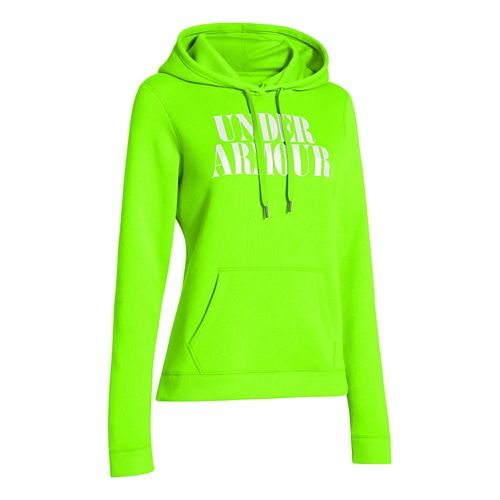 Womens Under Armour Undisputed Cotton Hoody Long Sleeve No Zip Technical Tops - Hyper Green ...