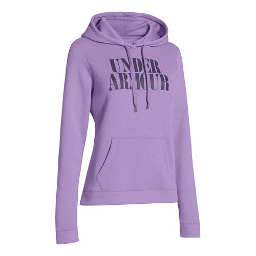 Womens Under Armour Undisputed Cotton Hoody Long Sleeve No Zip Technical Tops - Lilac S ...