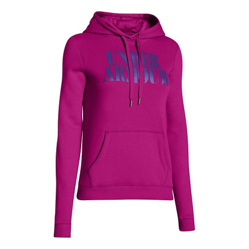 Womens Under Armour Undisputed Cotton Hoody Long Sleeve No Zip Technical Tops - Magenta Shock ...